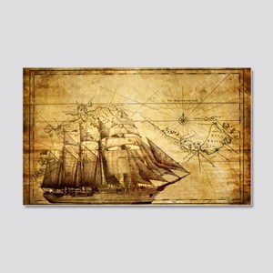 Old Ship Map 20x12 Wall Decal