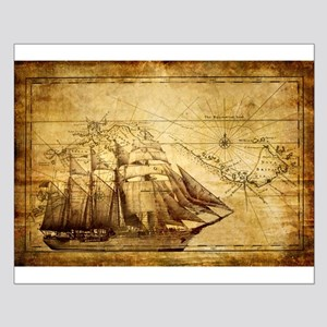 Old Ship Map Small Poster