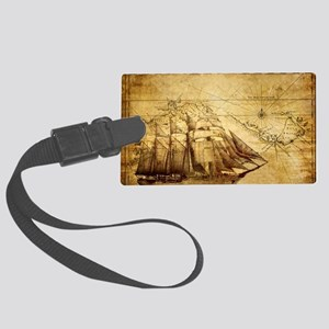 Old Ship Map Large Luggage Tag