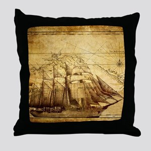 Old Ship Map Throw Pillow