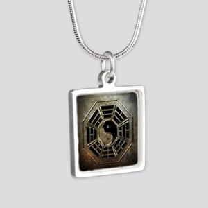 Yin Yang Bagua Silver Square Necklace