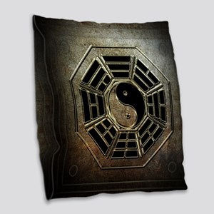 Yin Yang Bagua Burlap Throw Pillow