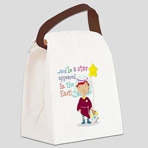 Daisy And Teddy Nativity Speech Canvas Lunch Bag