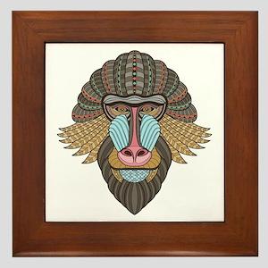 Tribal Baboon Framed Tile