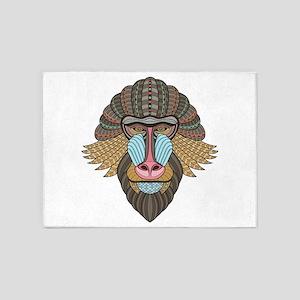 Tribal Baboon 5'x7'Area Rug