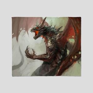 Gothic Dark Dragon Throw Blanket
