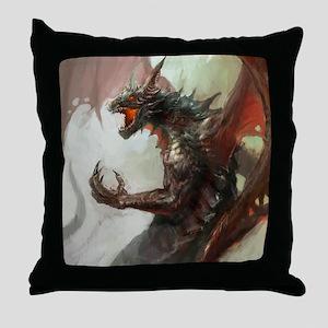 Gothic Dark Dragon Throw Pillow