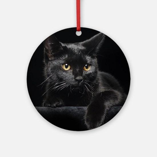 Black Cat Round Ornament