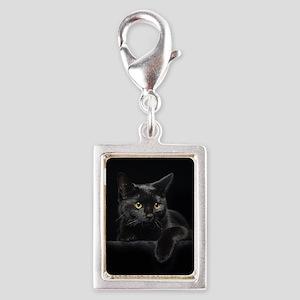 Black Cat Silver Portrait Charm