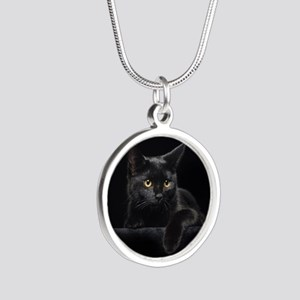 Black Cat Silver Round Necklace