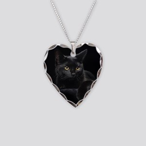 Black Cat Necklace Heart Charm