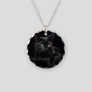 Black Cat Necklace Circle Charm