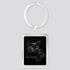Black Cat Portrait Keychain