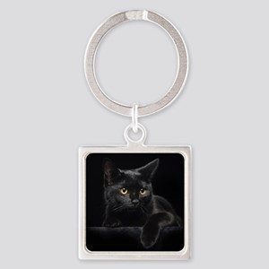Black Cat Square Keychain