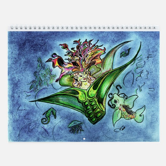 Coral Mermaid Fantasy Art Wall Calendar