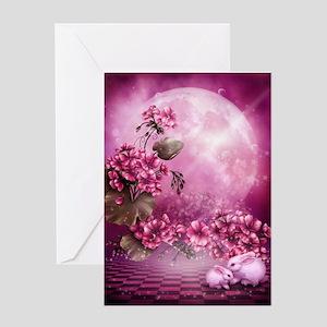 Pink Easter Rabbits Greeting Card