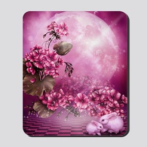 Pink Easter Rabbits Mousepad