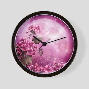 Pink Easter Rabbits Wall Clock