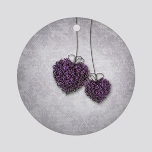 Purple Hearts Round Ornament
