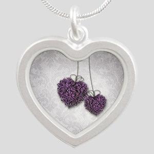Purple Hearts Silver Heart Necklace