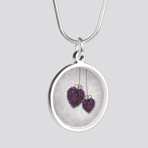 Purple Hearts Silver Round Necklace