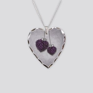 Purple Hearts Necklace Heart Charm