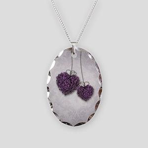 Purple Hearts Necklace Oval Charm