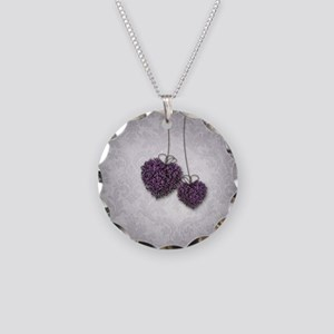 Purple Hearts Necklace Circle Charm