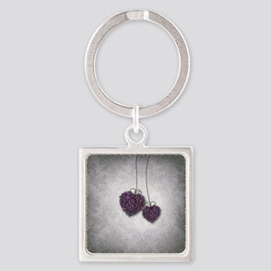 Purple Hearts Square Keychain