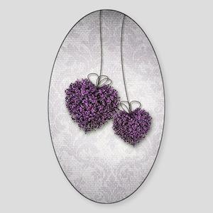 Purple Hearts Sticker (Oval)