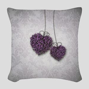 Purple Hearts Woven Throw Pillow