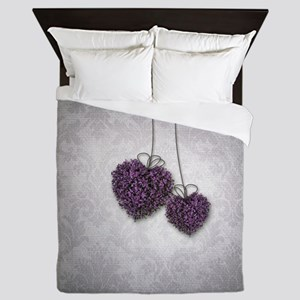 Purple Hearts Queen Duvet