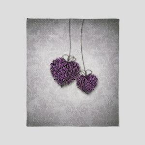 Purple Hearts Throw Blanket