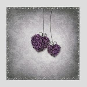 Purple Hearts Tile Coaster
