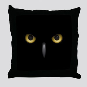 Owl Eyes Lurking In The Dark Throw Pillow