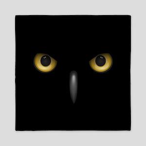 Owl Eyes Lurking In The Dark Queen Duvet