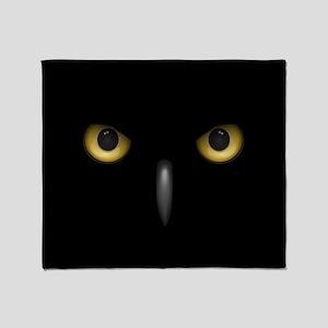 Owl Eyes Lurking In The Dark Throw Blanket