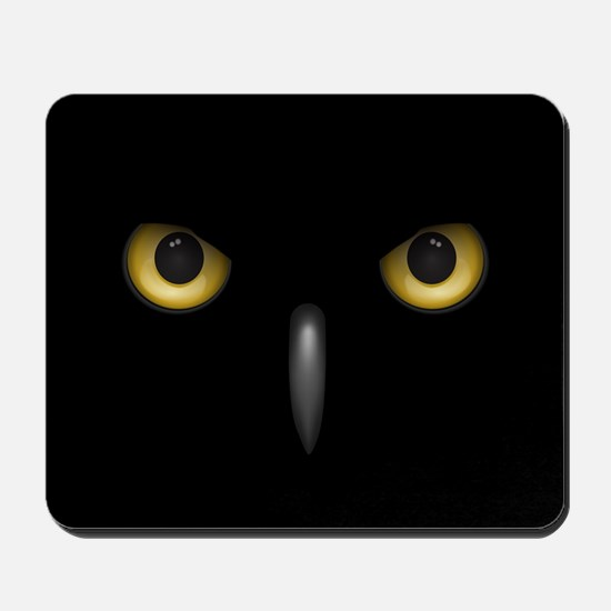 Owl Eyes Lurking In The Dark Mousepad