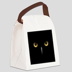 Owl Eyes Lurking In The Dark Canvas Lunch Bag