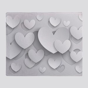 White Popup Hearts Throw Blanket