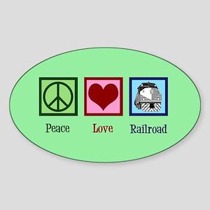 Peace Love Railroad Sticker (Oval)