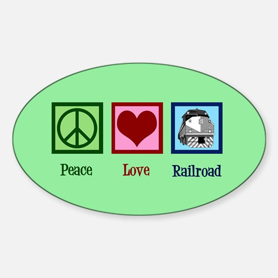 Peace Love Railroad Sticker (Oval)