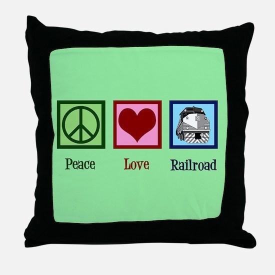 Peace Love Railroad Throw Pillow