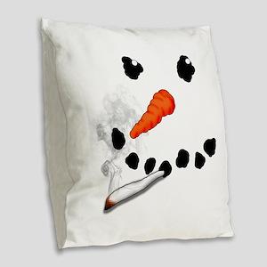 Bad Snowman Burlap Throw Pillow