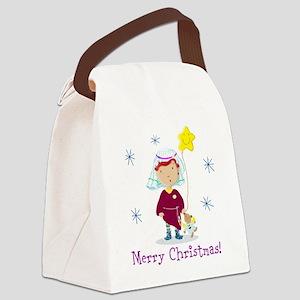 Daisy And Teddy Merry Christmas Canvas Lunch Bag