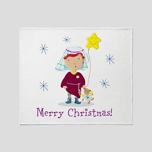 Daisy And Teddy Merry Christmas Throw Blanket