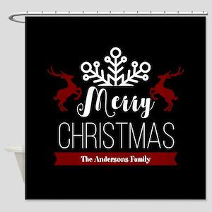Custom Family Name Christmas Shower Curtain