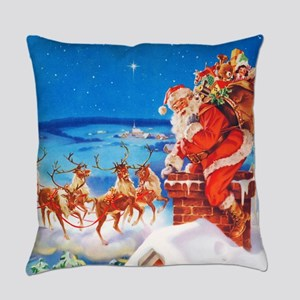Santa and His Reindeer Up On a Sno Everyday Pillow