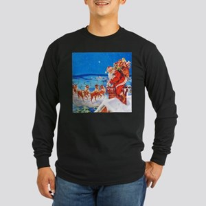 Santa and His Reindeer Up Long Sleeve Dark T-Shirt