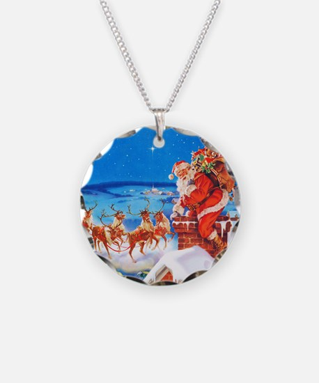 Santa and His Reindeer Up On Necklace Circle Charm
